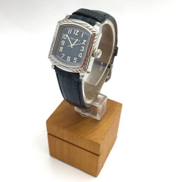 HAMILTON ハミルトン ブレイン レディース 腕時計 ステンレス SS クォーツ Qz ネイビー 革ベルト 【トレジャースポット】【中古】