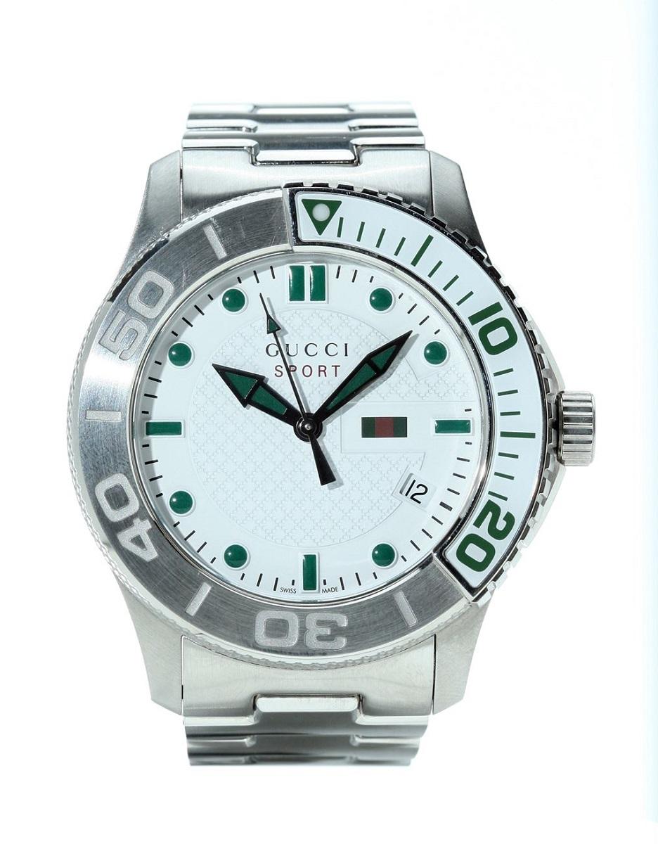 グッチ GUCCI YA126232 Gレススポーツ デイトホワイト ホワイト文字盤 グリーンインデックス メンズ 腕時計 SS ステンレス Qz クォーツ 防水 【トレジャースポット】【中古】
