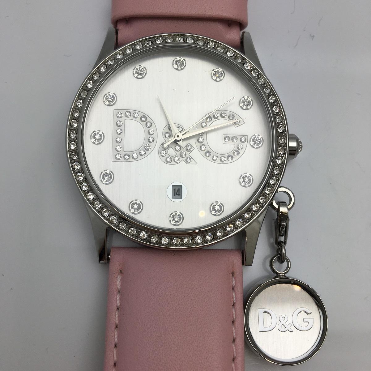 D&G ドルチェ&ガッバーナ DOLCE&GABBANA TIME ラインストーン DW0009 腕時計 QZ クォーツ SS ステンレス 革ベルト レディース 【トレジャースポット】【中古】