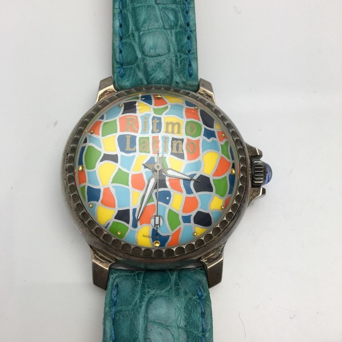 Ritmo Latino リトモラティーノ モザイコ Qz クォーツ 925 シルバー ボーイズ 腕時計 革ベルト 初期型 3000本限定 【トレジャースポット】【中古】