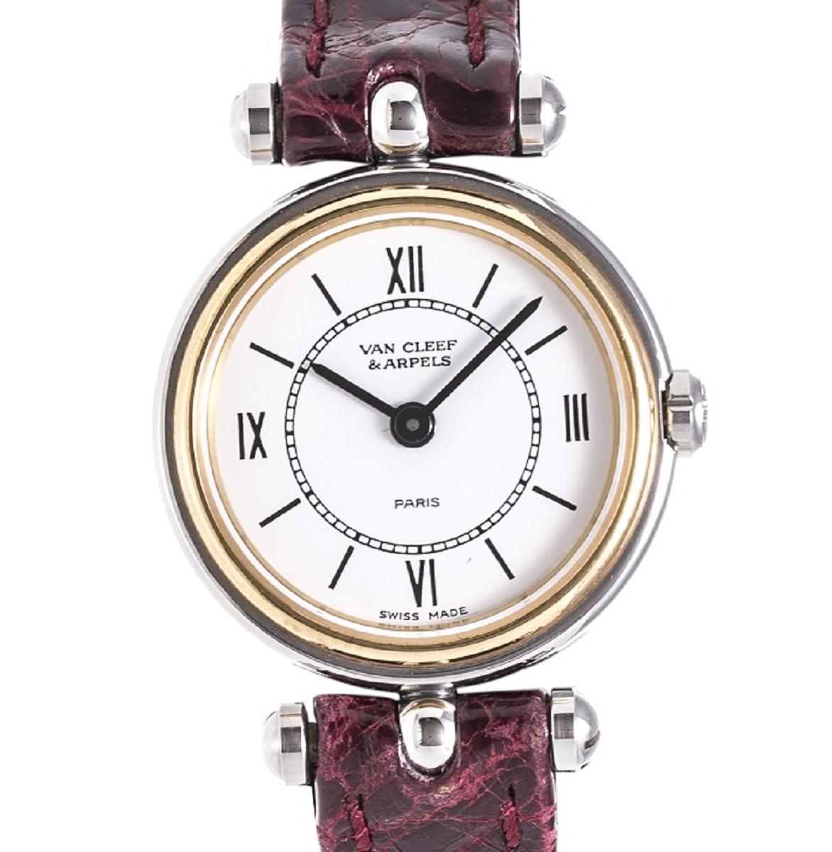 VANCLEEF&ARPELS ヴァンクリーフ&アーペル レディース 腕時計 Qz クォーツ 革ベルト ホワイト文字盤 白 SS ステンレス 送料無料【トレジャースポット】【中古】