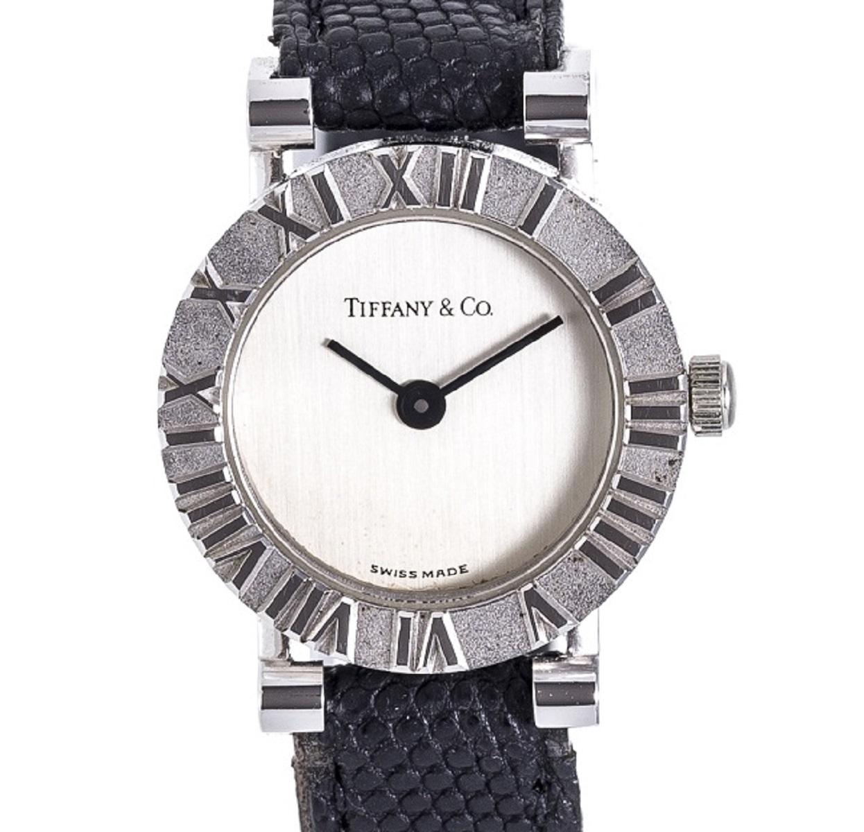 TIFFANY&Co ティファニー アトラス Qz クォーツ レディース 腕時計 シルバー 革ベルト 【トレジャースポット】【中古】