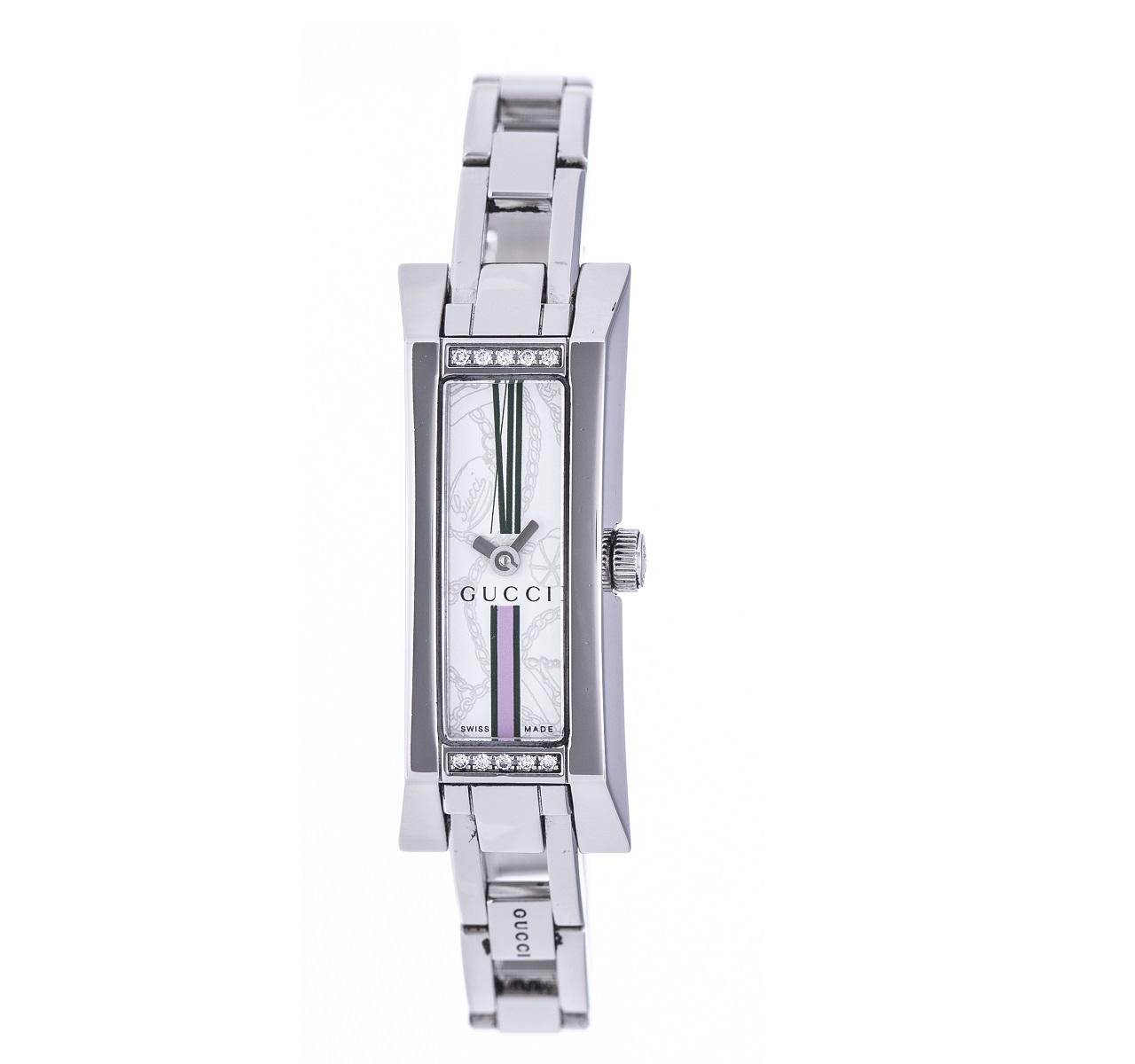 GUCCI グッチ YA110506 レディース 腕時計 Qz クォーツ 10Pダイヤ SS ステンレス 送料無料【トレジャースポット】【中古】