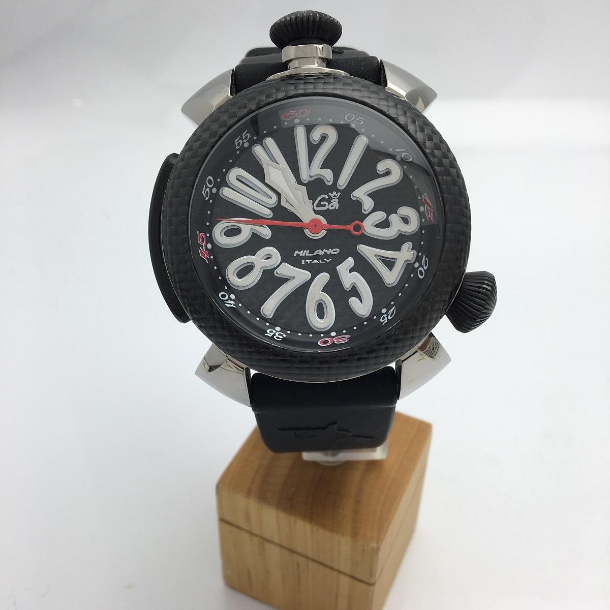 ガガミラノ GaGa MILANO ダイビング48mm 自動巻き チタンケースカーボンベゼル 保証書 専用箱 メンズ 腕時計 送料無料 【トレジャースポット】 【中古】