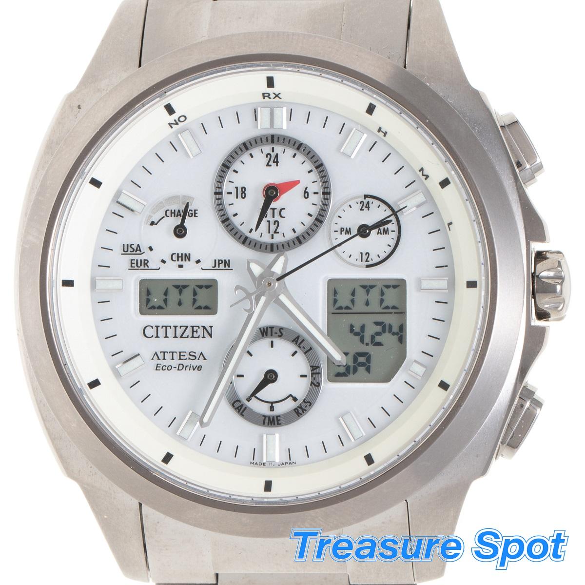 シチズン CITIZEN アテッサ ATV53-3021 ソーラー 電波時計 チタン Ti メンズ 腕時計 未使用展示品 【トレジャースポット】【中古】