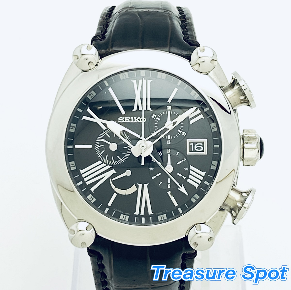 セイコー SEIKO ガランテ クロノグラフ スプリングドライブ SBLA049 メンズ 腕時計 送料無料 【トレジャースポット】【中古】