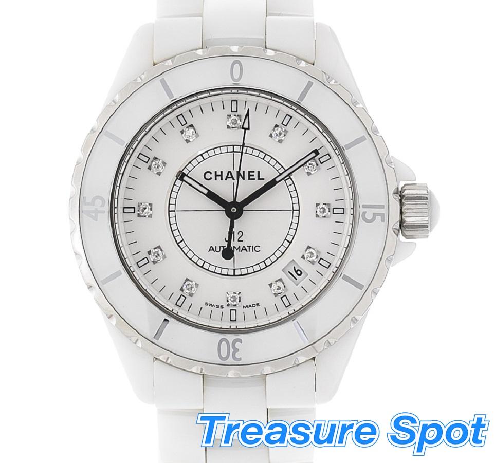 シャネル CHANEL J12 H1629 セラミック 12Pダイヤ 38mm 白 ホワイト 2005年(正規) AT 自動巻き 腕時計 送料無料 【トレジャースポット】【中古】