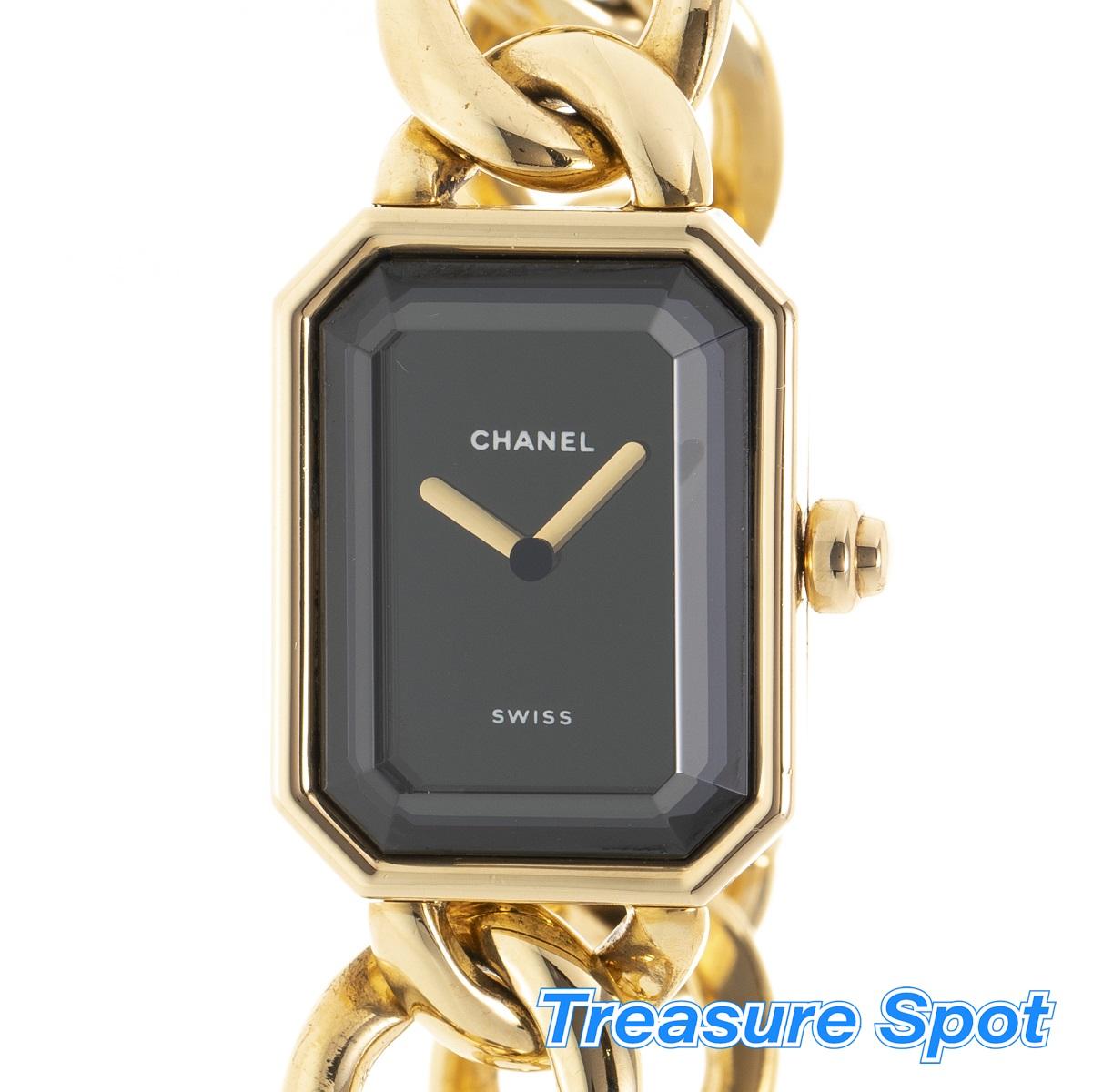 CHANEL シャネル プルミエール  YG 750 イエローゴールド Lサイズ 電池 クォーツ レディース 腕時計 送料無料 【トレジャースポット】【中古】