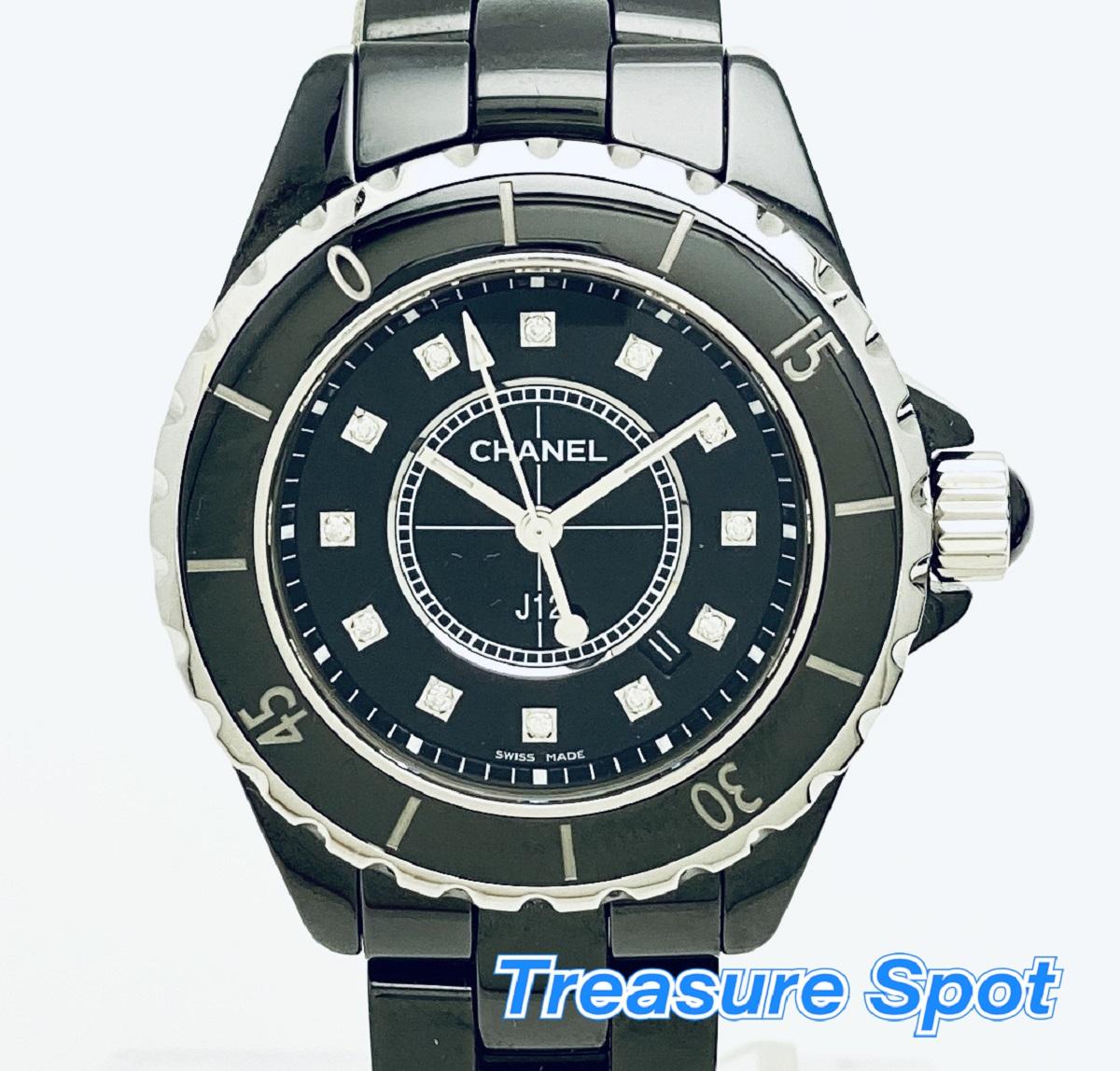 CHANEL シャネル H1625 J12 12Pダイヤ 33mm ブラック セラミック クォーツ QZ レディース 腕時計 送料無料 【トレジャースポット】【中古】