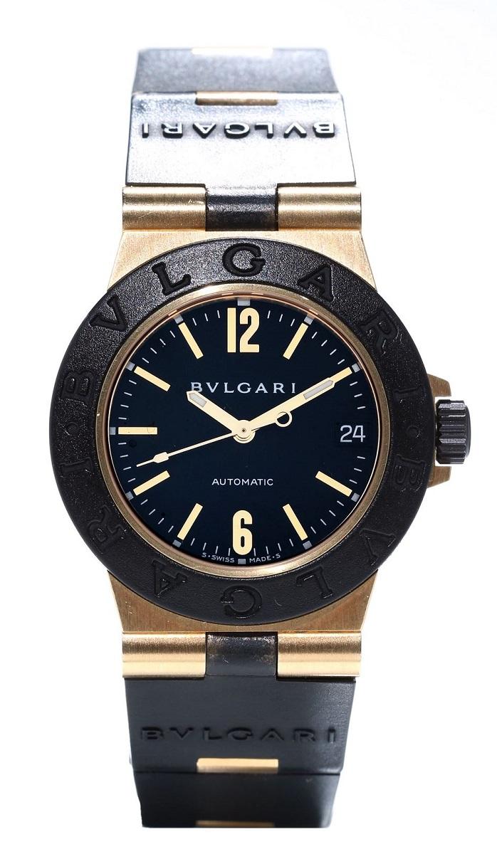 ブルガリ BVLGARI アルミニウム AL32G YGxRb イエローゴールドxラバー ボーイズ 腕時計 AT 自動巻き 送料無料 【トレジャースポット】【中古】