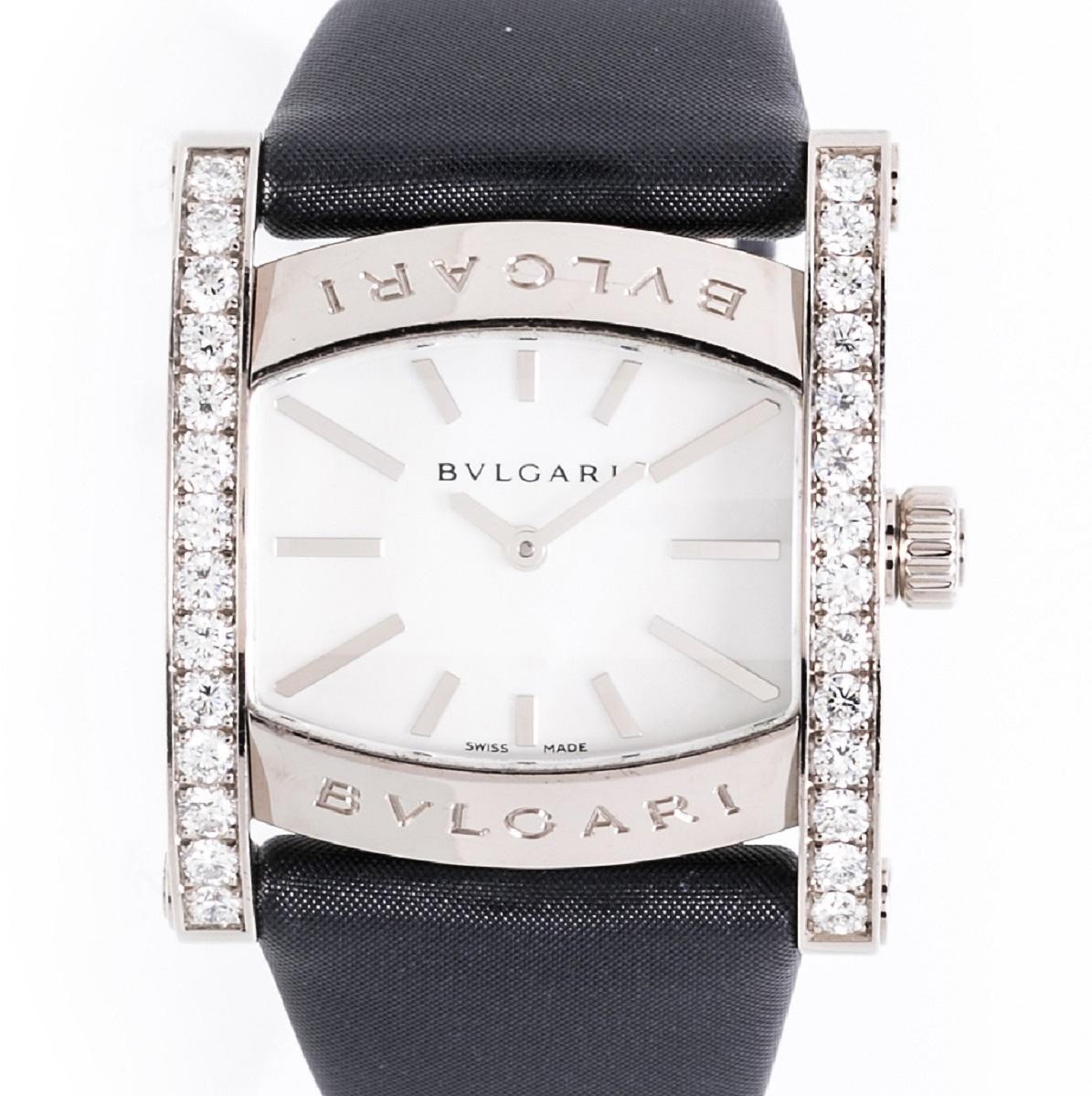 ブルガリ BVLGARI アショーマ AAW36G ダイヤベゼル WG ホワイトゴールド レディース 腕時計 QZ クォーツ 2006年 送料無料 【トレジャースポット】【中古】