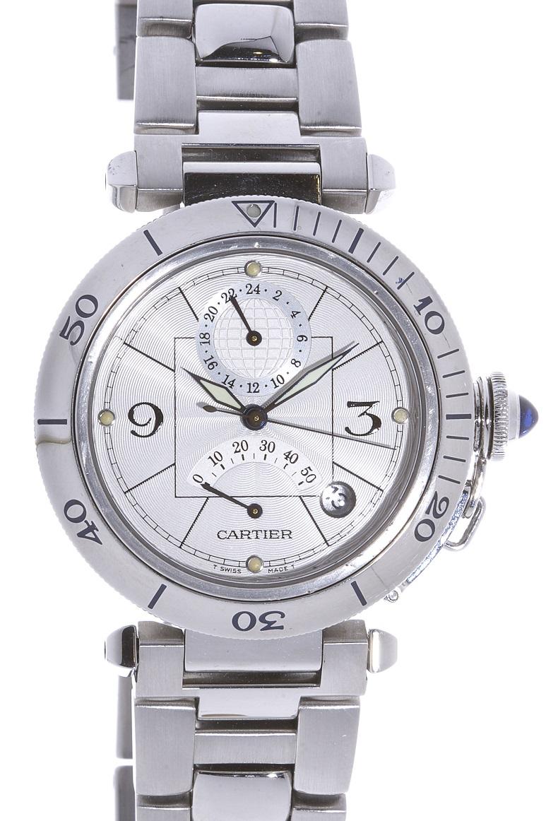 カルティエ Cartier パシャ パワーリザーブ 2388 ステンレス SS 腕時計 送料無料 【中古】