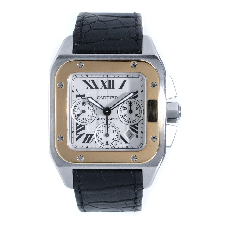 カルティエ Cartier サントス100 クロノグラフ SS×YG ステンレス×イエローゴールド AT 自動巻き メンズ 腕時計 送料無料 【トレジャースポット】【中古】