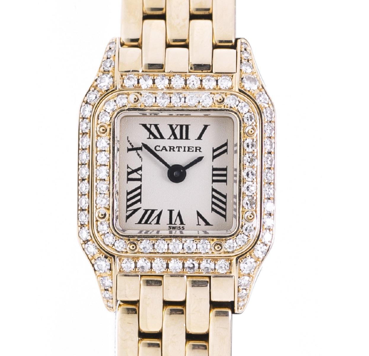 Cartier カルティエ ミニパンテール ダイヤベゼル WF3141B9 レディース 腕時計 YG イエローゴールド Qz クォーツ 送料無料 【トレジャースポット】【中古】