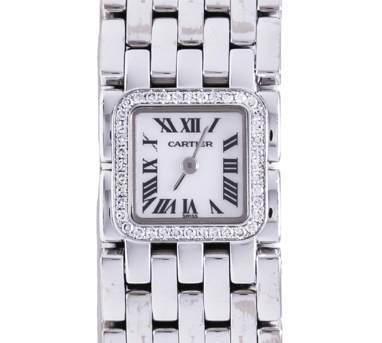 Cartier カルティエ ミニリュバン ダイヤベゼル レディース 腕時計 WG ホワイトゴールド Qz クォーツ 送料無料 【トレジャースポット】【中古】