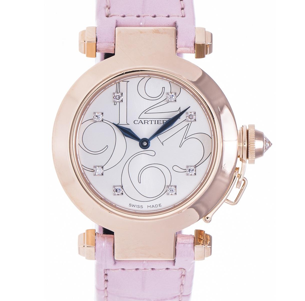 カルティエ Cartier パシャ32 アニメーション ピンクゴールド Qz レディース 腕時計 メーカーメンテナンス証明書 送料無料 【中古】【トレジャースポット】