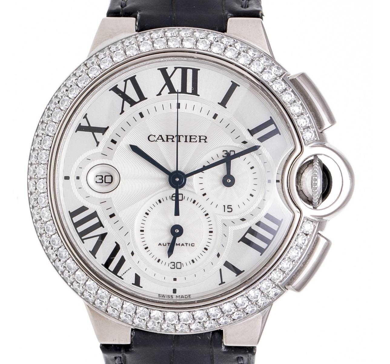 カルティエ Cartier バロンブルー クロノグラフ 47mm WE902002 ダイヤベゼル WG ホワイトゴールド Dバックル 裏スケルトン メンズ 送料無料 【トレジャースポット】【中古】