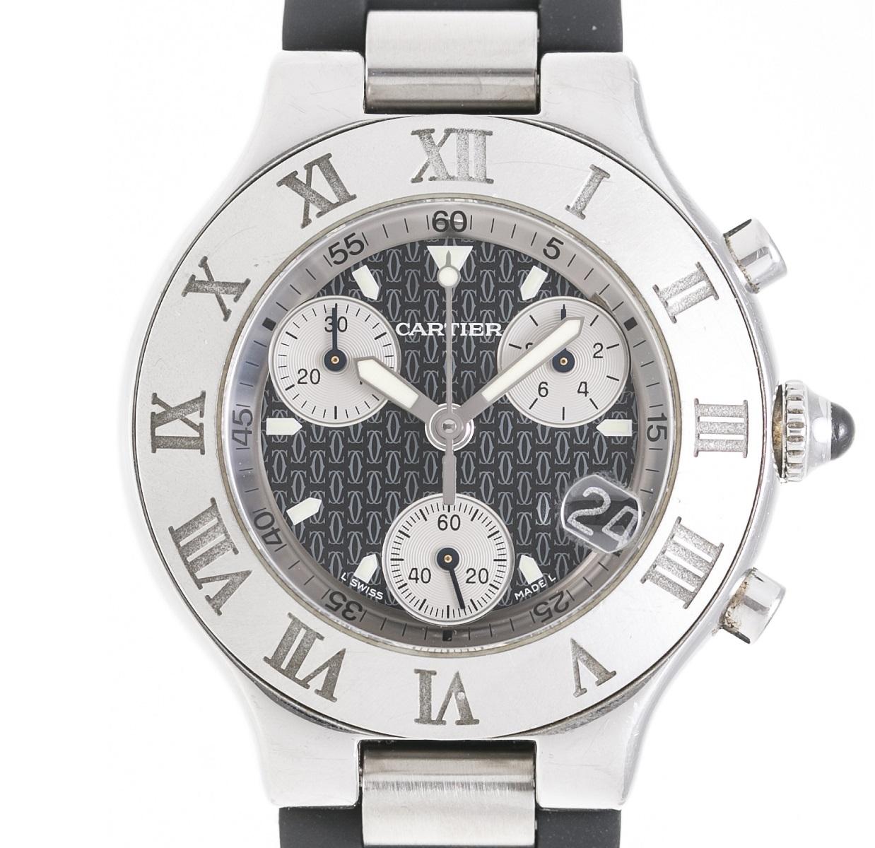 カルティエ Cartier マスト21 ヴァンティアンクロノスカフ クォーツ メンズ SS/RB ステンレス ラバーベルト 腕時計 送料無料【トレジャースポット】【中古】