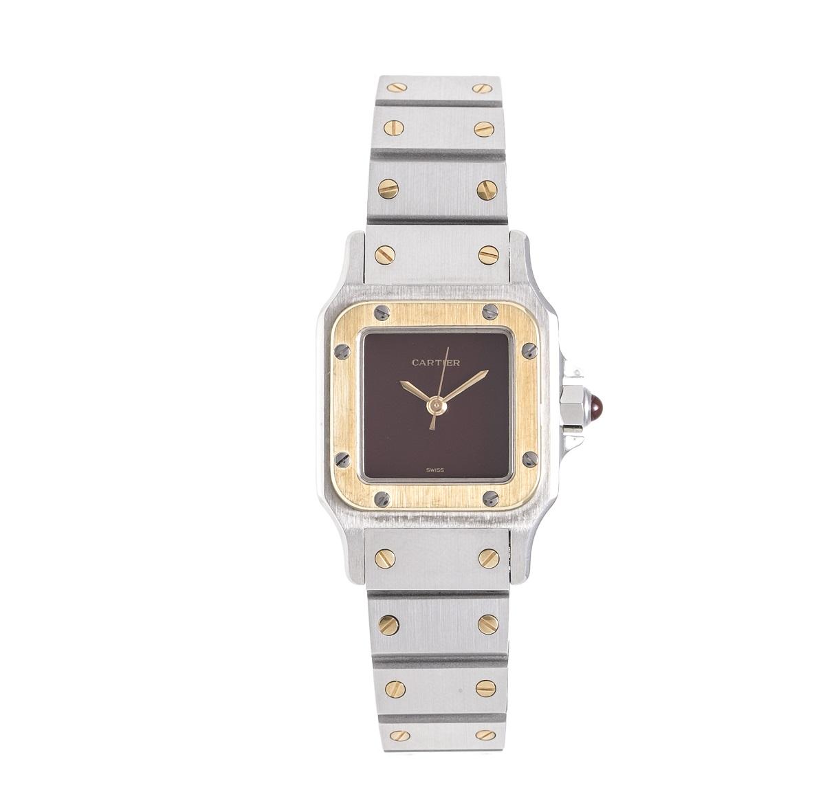 カルティエ Cartier サントスガルベ レディース 腕時計 SS/YG 自動巻き AT ボルドー文字盤 送料無料 【トレジャースポット】【中古】