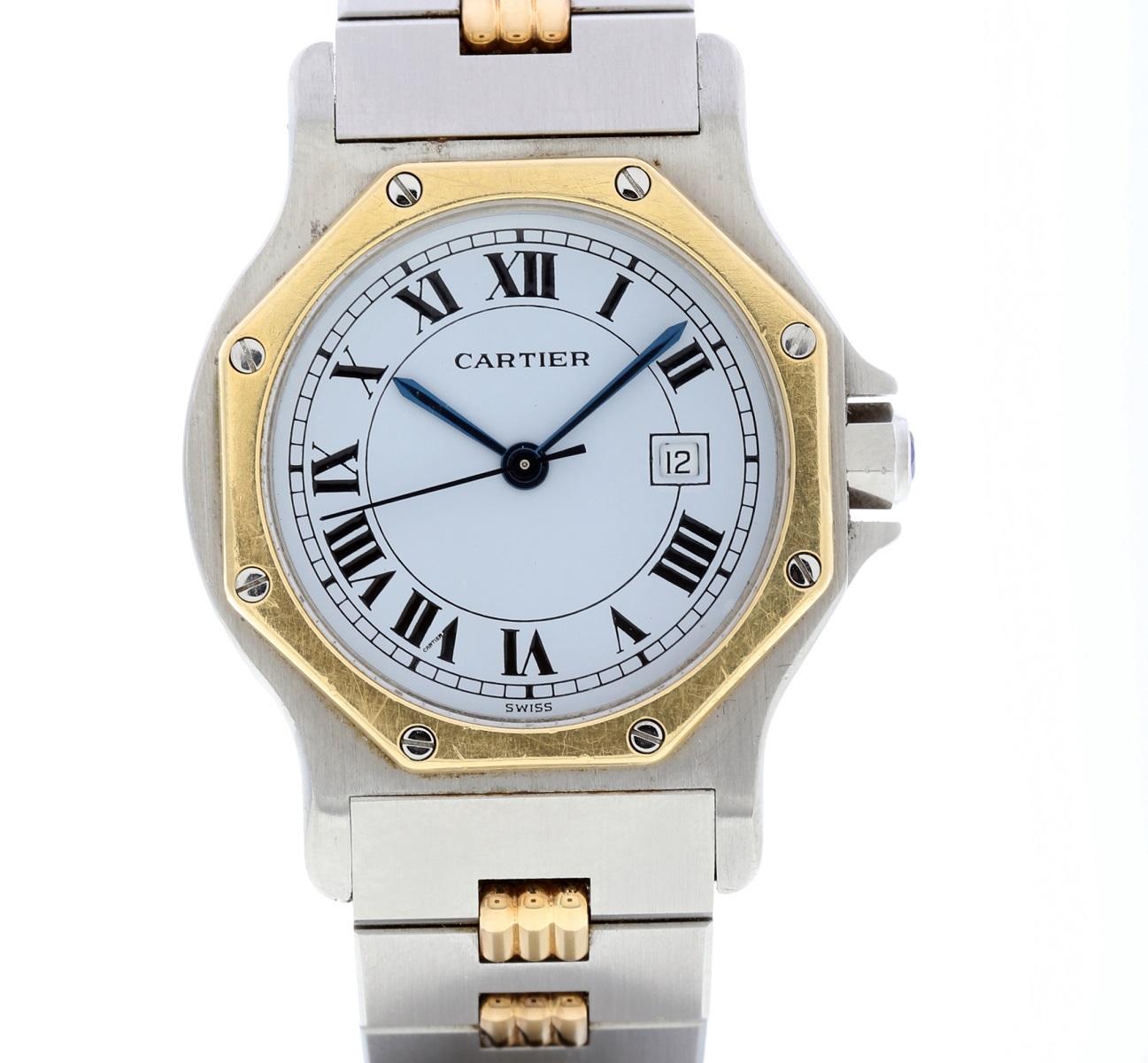 カルティエ Cartier サントス オクタゴン SS/YG ボーイズ AT 保証書(無地)腕時計 送料無料 【トレジャースポット】 【中古】