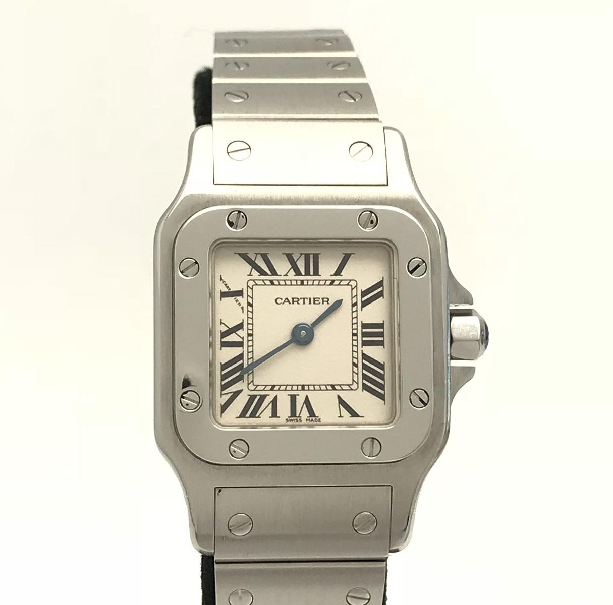 カルティエ Cartier サントスガルベ レディース ステンレス クォーツ 白文字盤 2009年 腕時計 送料無料 【トレジャースポット】【中古】