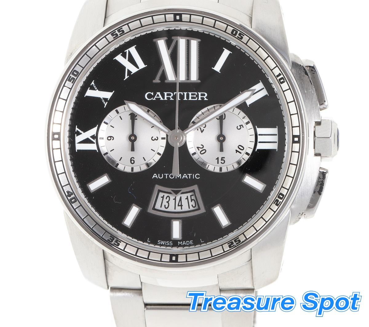 カルティエ Cartier カリブルドゥ クロノグラフ W7100061 SS ステンレス AT 自動巻き メンズ 腕時計 送料無料 【トレジャースポット】【中古】