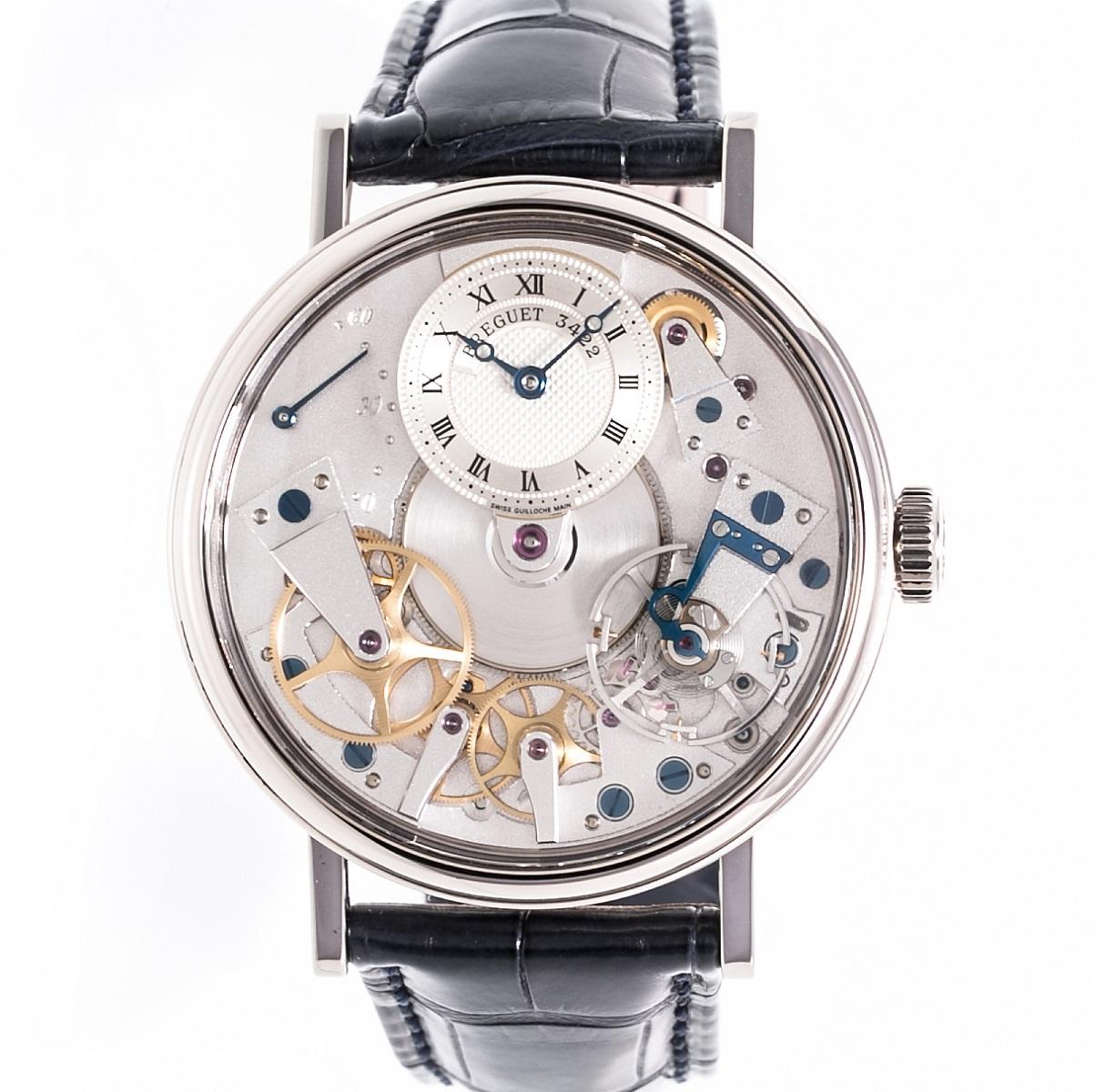 ブレゲ BREGUET トラディション 7037BB119V6 メンズ 腕時計 WG 革ベルト ホワイトゴールド AT 自動巻き 2010年式 裏スケルトン 送料無料 【トレジャースポット】【中古】