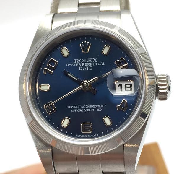 ROLEX ロレックス デイト 79190 レディース 腕時計 SS ステンレス ブルー Y番 2003年 送料無料 【トレジャースポット】【中古】