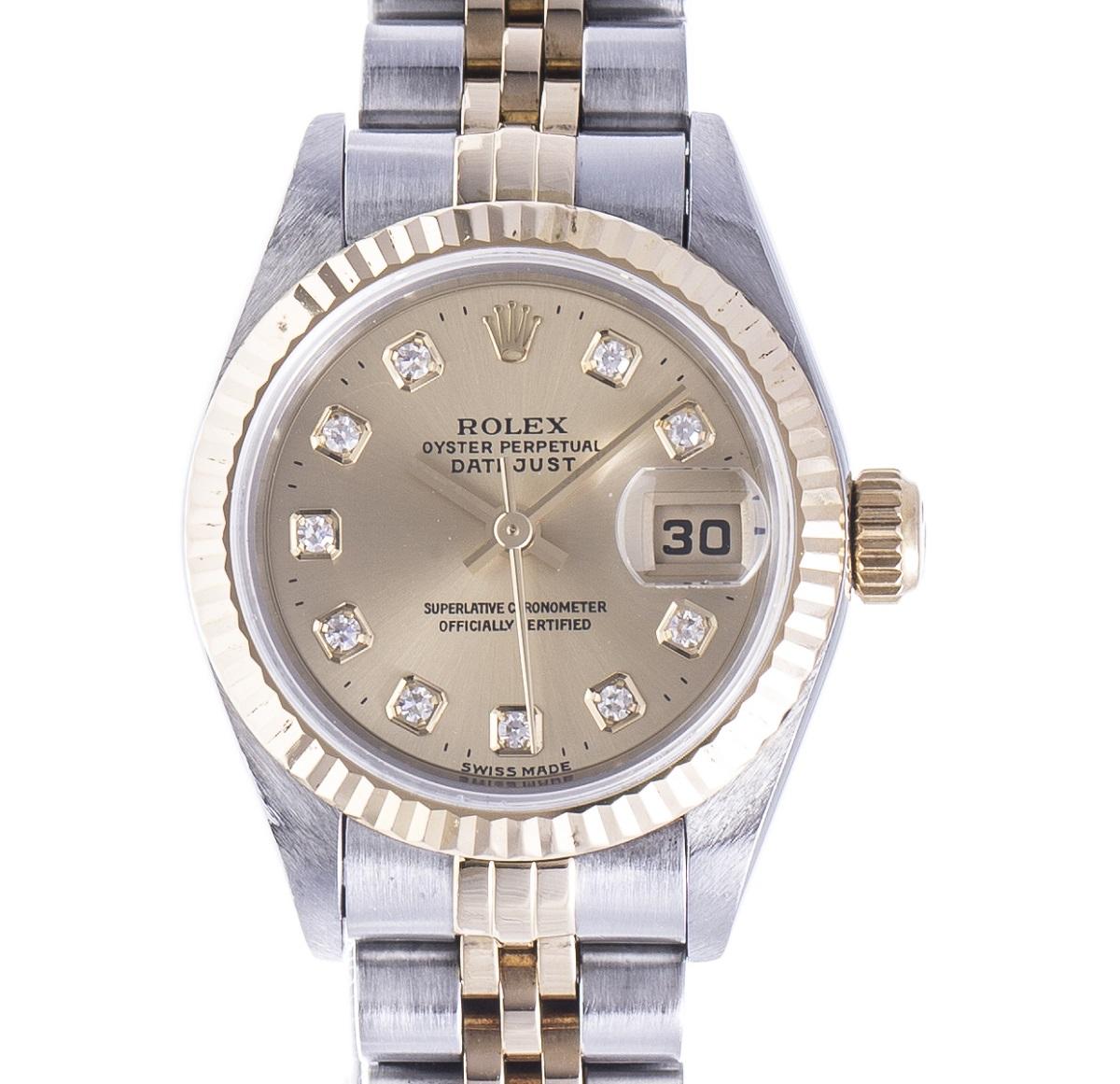 ROLEX ロレックス デイトジャスト 10P ダイヤモンド 69173G ステンレス×イエローゴールド SS×YG 1995年 レディース 腕時計 送料無料【トレジャースポット】【中古】