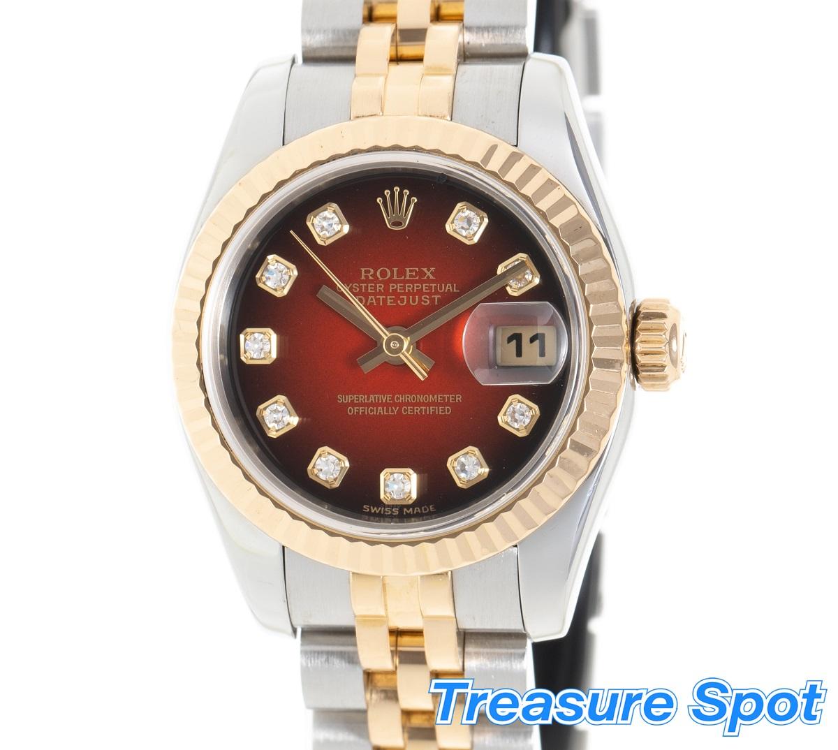 ロレックス ROLEX デイトジャスト 179173G 10P ダイヤ レッドグラデーション SS×YG ステンレス×イエローゴールド 2004年式 レディース 腕時計 送料無料 【トレジャースポット】【中古】