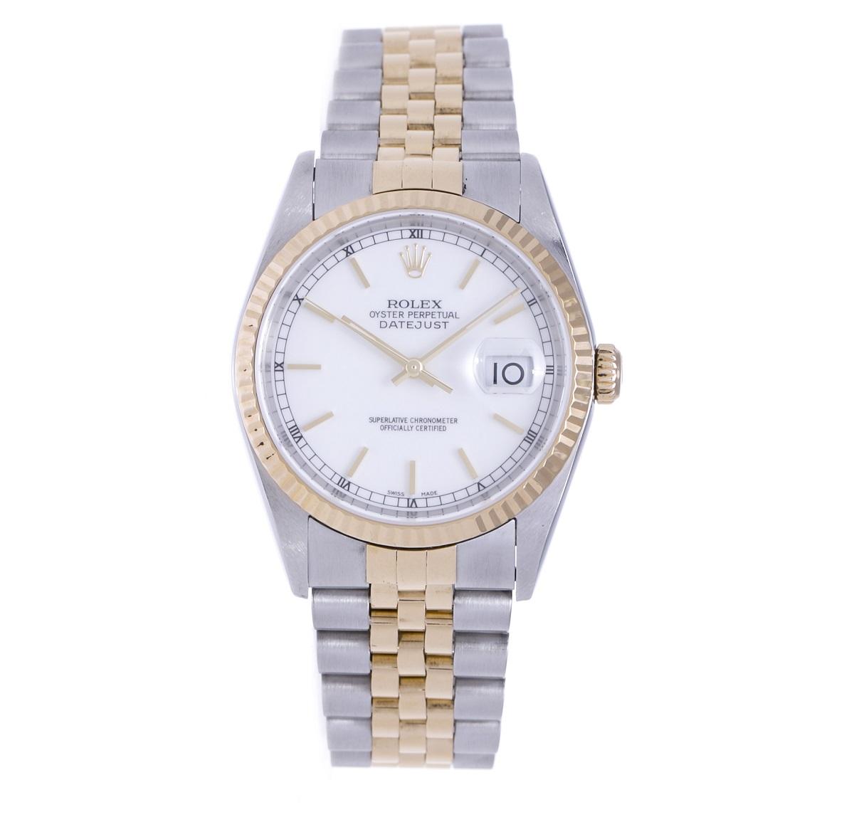 ロレックス ROLEX デイトジャスト 16233 SS/YG ステンレスxイエローゴールド 白文字盤 2003年 メンズ 腕時計 送料無料 【トレジャースポット】 【中古】