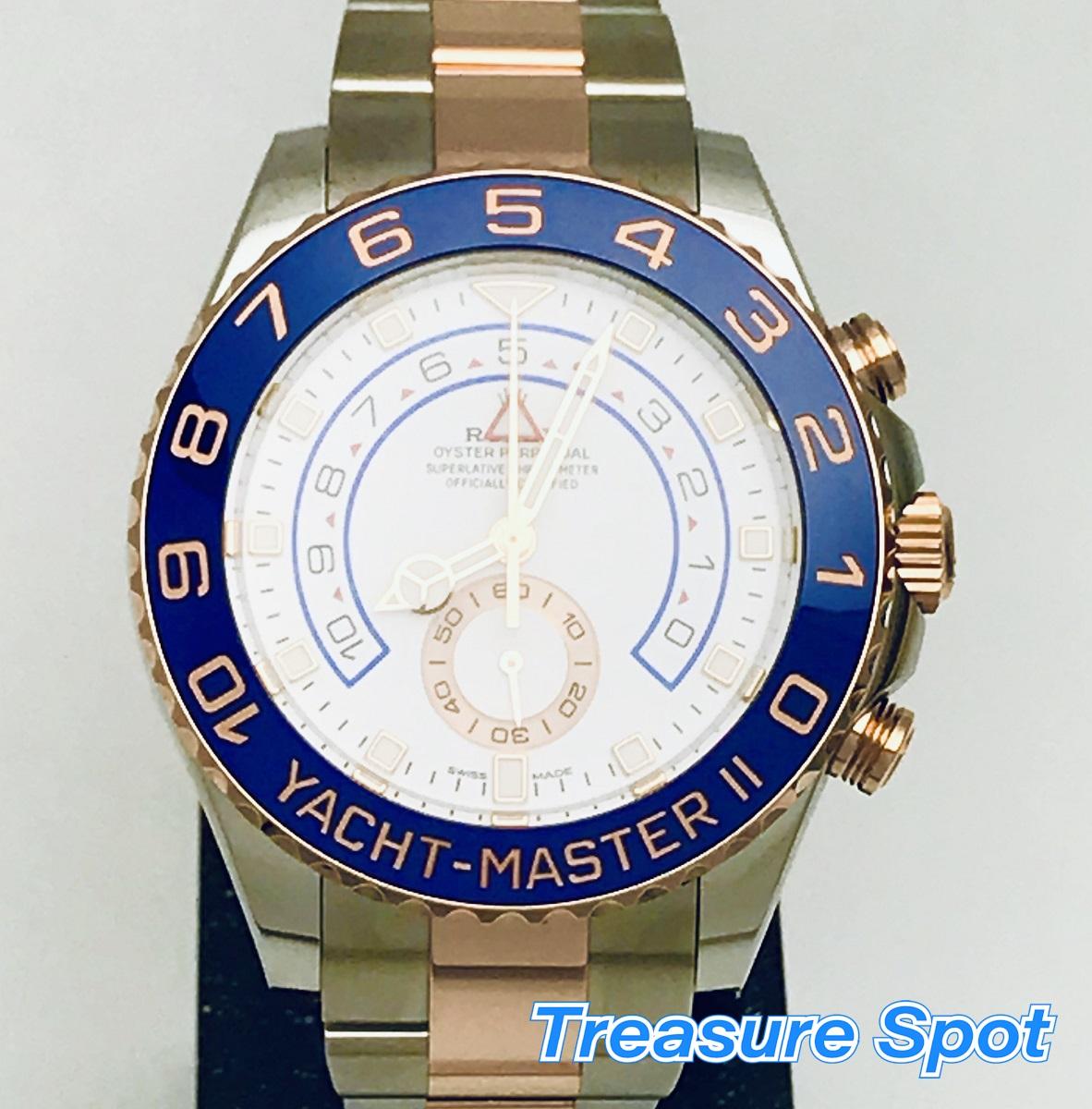 ROLEX 5年保証 ヨットマスター2 116681 PG/SS ピンクゴールド/ステンレス AT 自動巻き 2018年 保証カード 新品同様品 メンズ 腕時計 送料無料【トレジャースポット】【中古】
