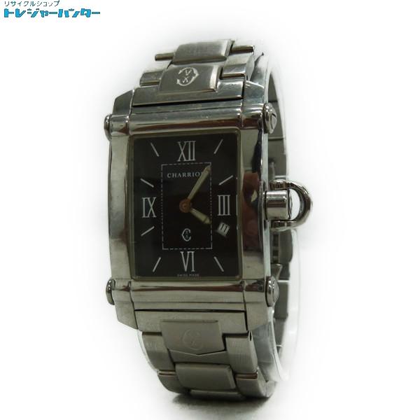 【中古】フィリップシャリオール コロンブス レディース クォーツ 腕時計 Ref.9011910 レクタンギュラー スイス製 銀×黒文字盤 3気圧防水 COLVMBVS PHILIPPE CHARRIOL 【012119】