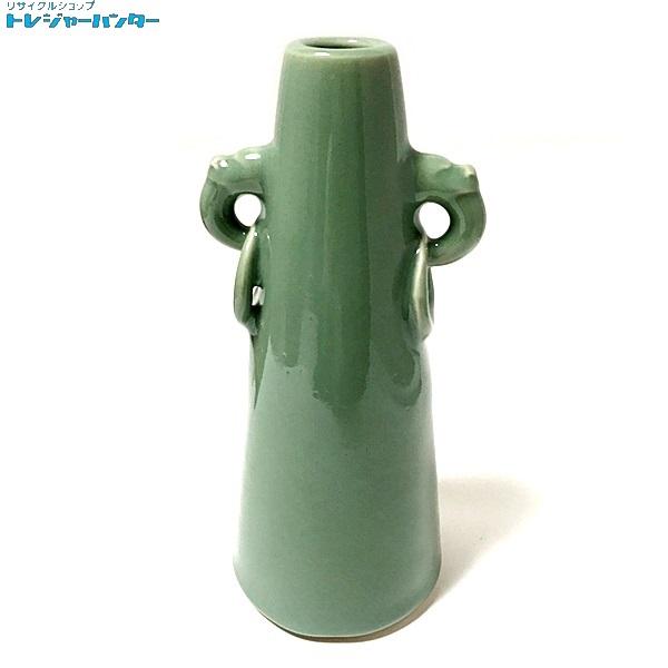 【中古】三田青磁 北村圭泉 象耳花入 花瓶 グリーン 緑 一輪挿し 【082418】