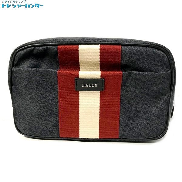 【中古】バリー トレインスポッティング ボディバッグ QUINNY/137 ウエストバッグ ストライプ ナイロンキャンバス レザー カバン ブラック 黒 鞄 メンズ カバン BALLY 【040419】