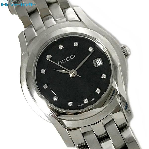 【中古】グッチ レディース 腕時計 5500L 11Pダイヤ ブラック文字盤 黒 SS ウォッチ クォーツ GUCCI 【083119】