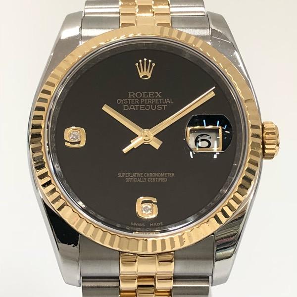 【中古】ROLEX ロレックス デイトジャスト オニキス文字盤 2Pダイヤ 116233 2BR 自動巻き 腕時計 M番 YG×SS 新品仕上げとOH済み【082119】