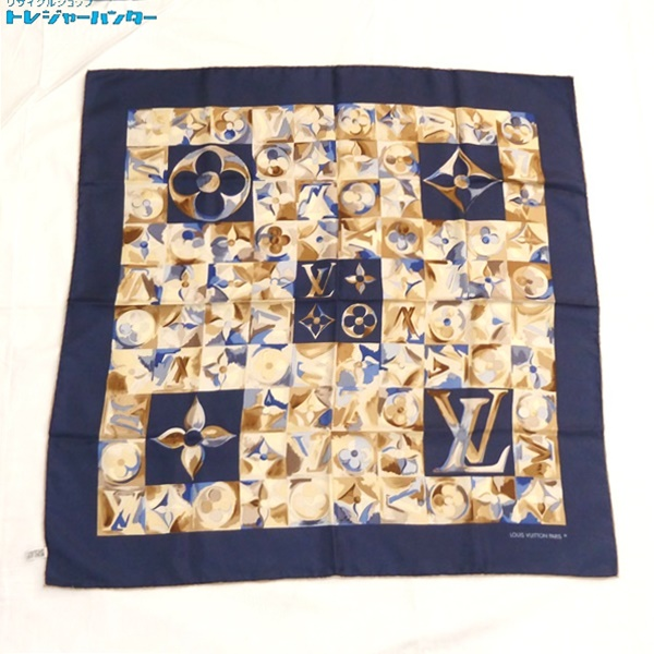 【中古】ルイヴィトン LV モノグラム スカーフ 水彩画風 ネイビー 紺 レディース LOUIS VUITTON 【100419】