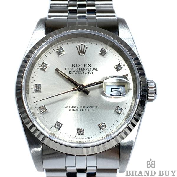 【中古】ROLEX ロレックス デイトジャスト 16234G SS/18WG R番 10Pダイヤ メンズ 自動巻き 腕時計 OH/外装仕上げ済み 【012220】