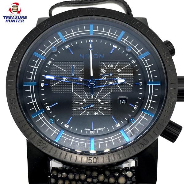 【中古】NIXON ニクソン 腕時計 マグナコン レザーベルト A4582136 ブラックスティングレー メンズ 【021720】