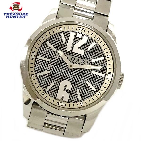 【中古】ブルガリ ソロテンポ ST37S グレー文字盤 SS ステンレス メンズ クォーツ 腕時計 ウォッチ シルバー BVLGARI  【031620】