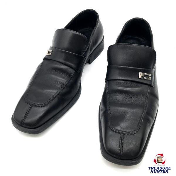 【中古】GUCCI グッチ レザーシューズ Gマーク 28 ブラック 黒 靴 【061220】