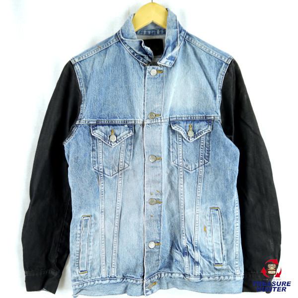 【中古】CRIME メンズ デニムジャケット インディゴ オイルコーティングスリーブ USED加工 XLサイズ ライトブルー ブラック 【100120】