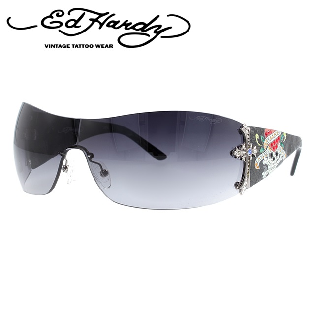 エドハーディー サングラス EdHardy クロス CROSS GUN ガンメタル/ブラックグラデーション メンズ レディース UVカット メガネ ブランド ギフト