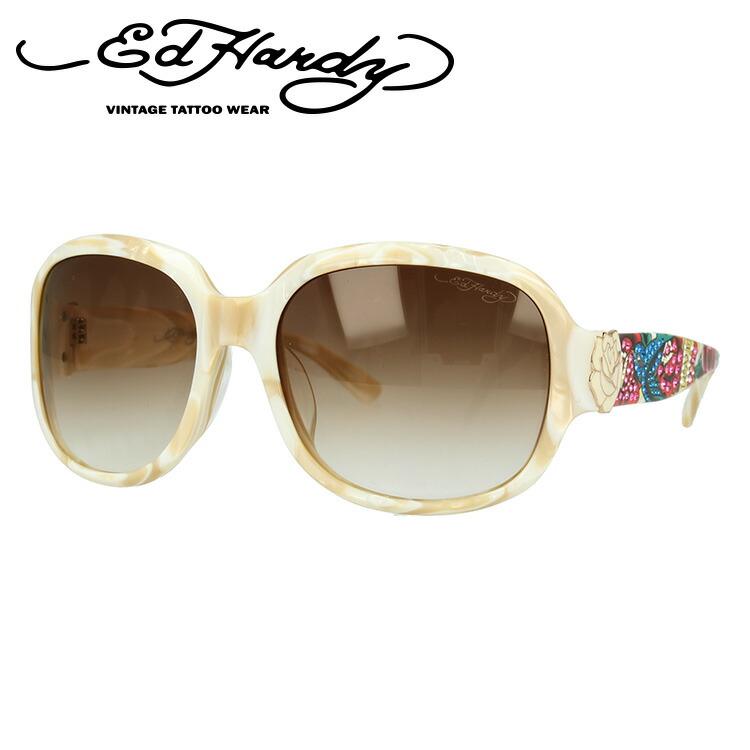 エドハーディー サングラス EdHardy バード BIRD ホワイト/ブラウングラデーション メンズ レディース UVカット メガネ ブランド