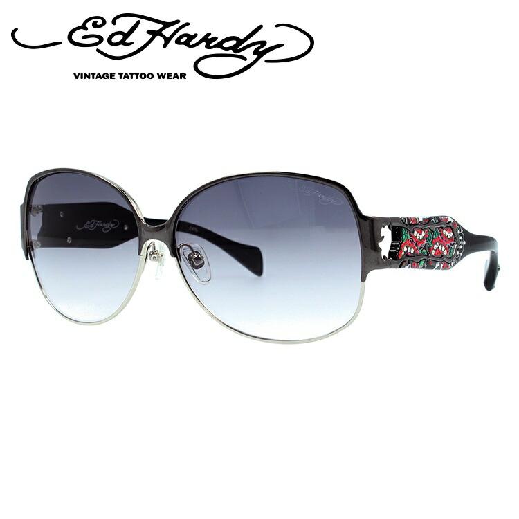エドハーディー サングラス EdHardy トゥーローズ TWO ROSE ガンシルバー/ライトグレーグラデーション メンズ レディース UVカット メガネ ブランド