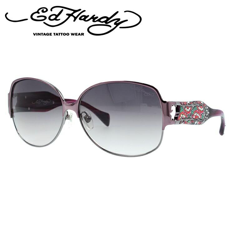 エドハーディー サングラス EdHardy トゥーローズ TWO ROSE パープルガン/グレーグラデーション メンズ レディース UVカット メガネ ブランド ギフト