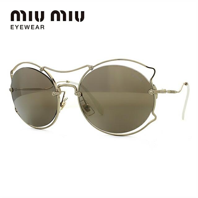 ミュウミュウ サングラス ミラーレンズ miu miu MU50SS ZVN1C0 57サイズ 国内正規品 オーバル ユニセックス メンズ レディース