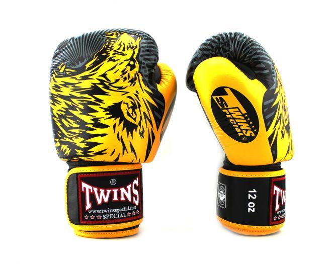 8オンス TWINS グローブ ブラック イエロー ライオン柄 ボクシング ムエタイ キックボクシング 総合格闘技