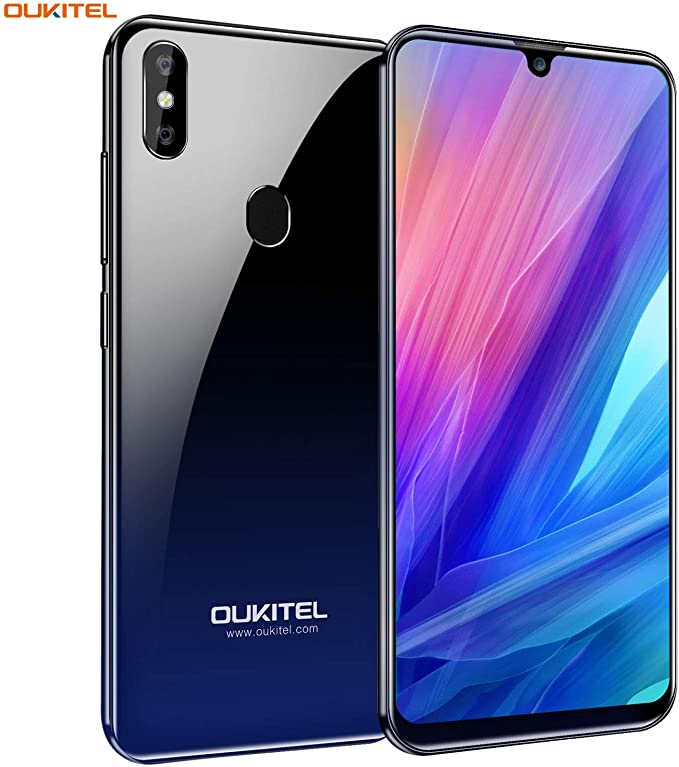 OUKITEL C15 PRO+ スマートフォン SIMフリー アンドロイド 本体 3GB RAM + 32GB ROM 6.1インチ 大画面 Android 9.0 8MP+2MP+5MPカメラ デュアルSIM 顔認証 指紋認識 3200mAh大容量 バッテリー